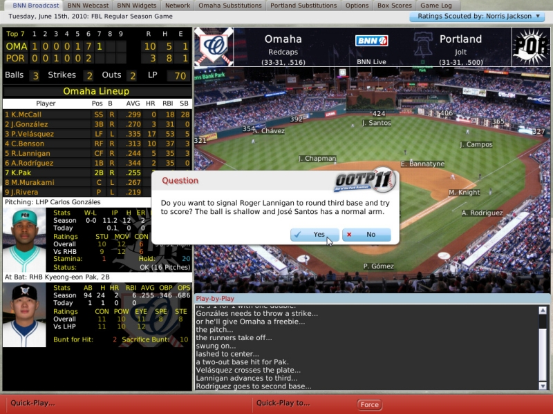 Out of the Park Baseball (Linux) screenshot